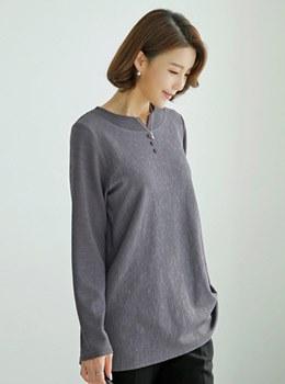 [8C-TS138]シンプルな配色ボタンTシャツ